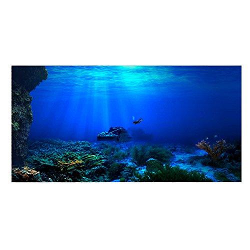 Aquarium Achtergrond Vis Tank Decoraties Foto's 3D Effect PVC Lijm Poster Onderwater Wereld Achtergrond Decoratie Papier Cling Stickers Sticker, (122 * 61cm)