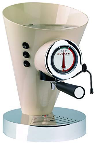 BUGATTI, Diva Evolution, Machine à Café Expresso et Cappuccino, Pour Café Moulu et Dosettes, Fonction vapeur non-stop, 15 Bar, 950 W, Capacité 0,8 Litre, Design Élégant, Couleur Crème