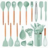 Silicone Kitchen Utensils Set, Premium Cooking Utensil Set 22Pcs, GO-LILI Baking Tools,Non-Stick Heat Resistant Cookware with Holders, Cooking Turners Spatula, Home Server (Blue/Wood)