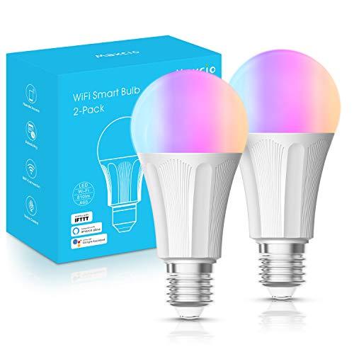 Alexa Lampe, Maxcio Wlan Smart Led Glühbirnen [E27, 9W] RGB Wifi Bulb, Kompatibel mit Alexa und Google Home, 810LM, App Einstellbare Helligkeit/Farbe, Timing Funktion, Szene und Automation - 2 Packs