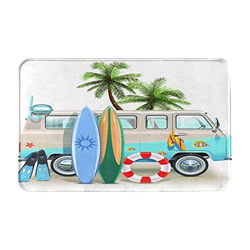 NANITHG Alfombra de Baño Antideslizante,Concepto de Fin de Semana de Surf con Elementos de Buceo,Aletas,Snorkel y Viaje en Furgoneta,relajar la Paz,Tapete del Piso de Microfibra de Lavable