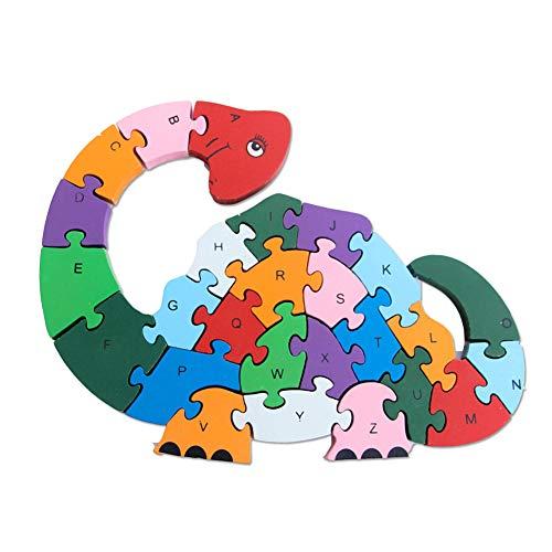 Rompecabezas De Madera Colorido 3D Animal Coche Rompecabezas Alfabetos Número Aprendizaje Niños Juguete Dinosaurio*