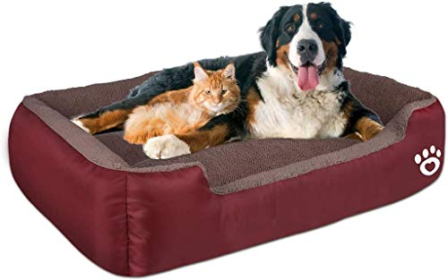 [Latest 2020] Warming Pet Dog Beds for Medium/Large Dog,Rectangle Pet Bed with Soft Coral Fleece and Non-Slip Bottom,Dog Sofa Couch Pet Bed with Durable Oxford Cloth (XXL-36'' x 30'', red) Beds