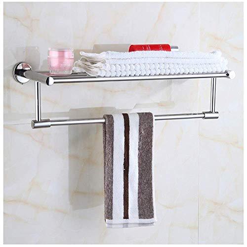 Bathroom Estantes de baño Estantes durables de acero inoxidable de acero inoxidable con barandilla y toalla de bar en el baño / de cocina nunca se oxidan para accesorios de baño (Color: Plata, Tamaño: