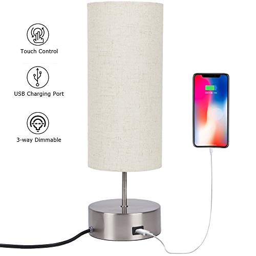 Yueximei Touch Control Table Lamp Bedside with USB Charging Port,3 Way Dimmable Touch Lamps with Sand Nickel Base and Cylindrical Linen Lampshade for Bedroom Living Room Office (1pack)