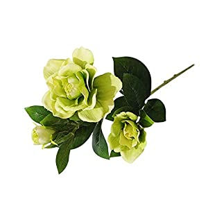 bjlongyi 1Pc 3 Heads Artificial Gardenia Flower,Charming Fake Plant for Home Garden Decoration