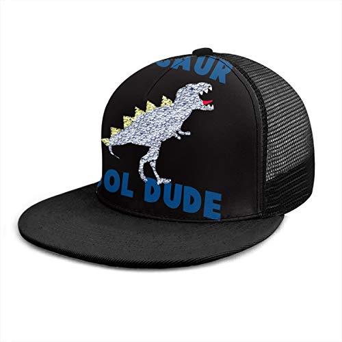 Cool Dude Dinosaurier-Poster Damen Herren Baseballkappe verstellbar Trucker Mesh Snapback Hats 6 Panel Caps Polo Style Dad Hat Unisex Schwarz