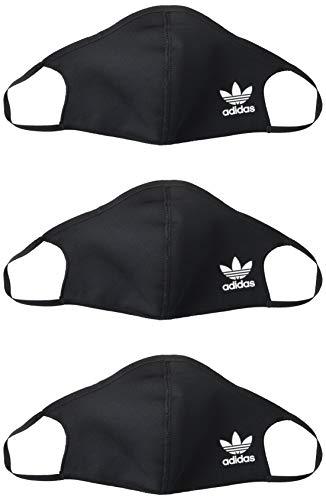 adidas Originals Standard Face Covers 3-Pack, Black/White, Medium/Large