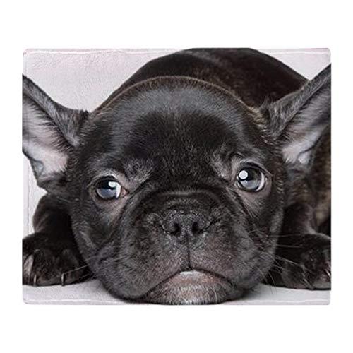 YISUMEI Decke 150x200 cm Kuscheldecken Sanft Flanell Weich Fleecedecke Bettüberwurf Schwarze französische Bulldogge