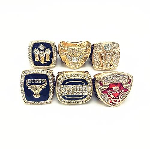 CLCL Anillo Simple De Moda, NBA Chicago Bulls Baloncesto Jordan Campeonato Anillo Réplica Anillo Los Fanáticos Pueden Recolectar Regalos, with Box, 8-14#