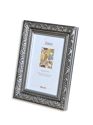 "Victor antiker Bilderrahmen ""Rubens"" schwarz Silber in 10x15 cm - Leiste: 30x20 mm - Echtglas - barock"