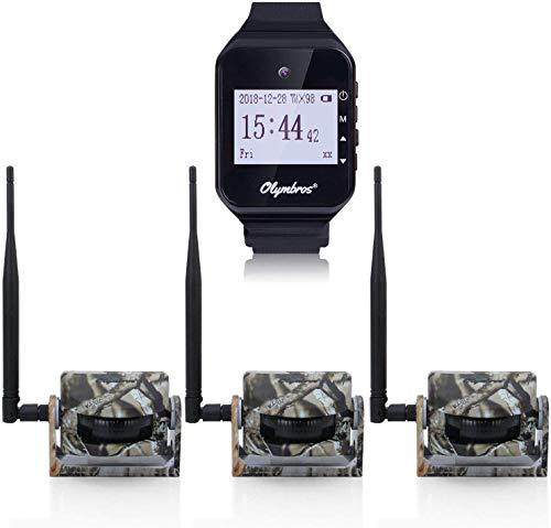 Olymbros Wireless Security Alarm Set Jagd Alarm System drahtlos 360 Grad 65ft Reichweite für den Außenbereich Garten Sicherheitsalarm Set Detektoren Alarm Sensor Wetterfeste