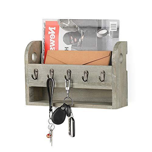Schlüsselbrett mit Briefablage aus Holz mit 5 Schlüsselhaken für Briefen, Notizen, Schlüssel, rustikal grau