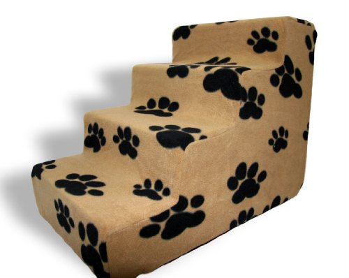 Best Pet Supplies 4-Step Foam Pet Stairs/Steps, 24 by 15 by 19-Inch, Black Paw on Beige, ST215T-M