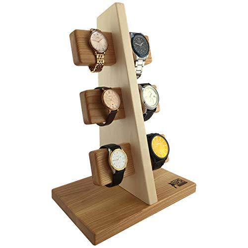 Wood Spot Uhrenständer für 6 Uhren Kirschholz-Ahornholz, Echtholz, Uhrenhalter aus Premium-qualität Harthölzer, Handgefertigt, Natur, Praktische Lösung für Solaruhren, Geschenke für Männer