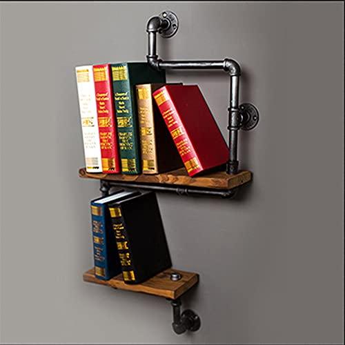 TTz 2-Tier Wall Mounted Bookshelf, Rustic Industrial Pipe Shelving, Decorative Storage Display Rack, for Sitting Room Study Bathroom