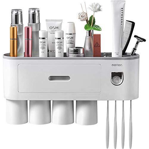 TuCao Dispensador automático de pasta de dientes con soporte para cepillo de dientes, 4 ranuras para cepillos de dientes , organizador multifuncional para cepillos de dientes (4 tazas)