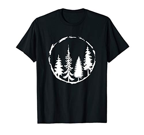 Minimalist Tree Design Forest Outdoors and Nature Graphic T-Shirt