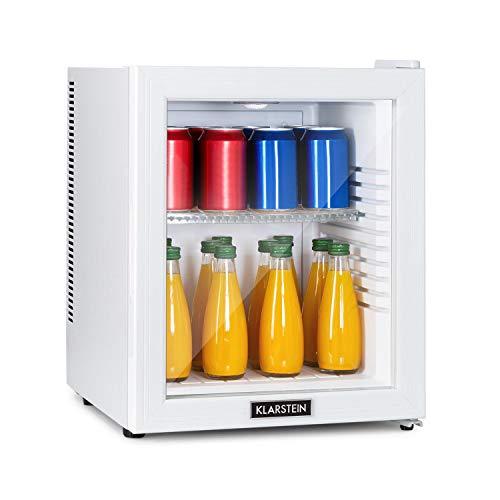 Klarstein Brooklyn - 32 Liter, Minibar Mini-Kühlschrank, thermoelektrisches Kühlsystem, 3-stufige Kühlung: bis 12 °C, EcoExcellence System: Energieeffizienzklasse A, geräuschlos: 0 dB, weiß