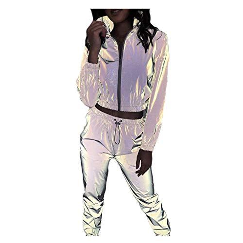 Chándal de Ocio Suéter Casual Mujer Sudadera Reflectante Chaqueta Comodo y Suave + Pantalones Largo Conjunto Ropa de Casa Hoodie de Deporte Fannyfuny