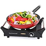 Techwood Hot Plate Electric Single Burner Portable Burner, 1500W with Adjustable Temperature, Stay Cool Handles, Non-Slip Rubber Feet, Black Stainless Steel Easy To Clean, Upgraded Version ES-3103 (Black Burner)