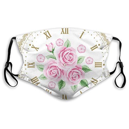 Winddichter Schal, Vintage Uhr Zifferblatt Rosen Römische Zahlen Antiker Vintage-Stil, Bedruckte Gesichtsdekorationen