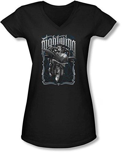Batman - Nightwing cycliste T-shirt à encolure en V de jeunes femmes -, XX-Large, Black
