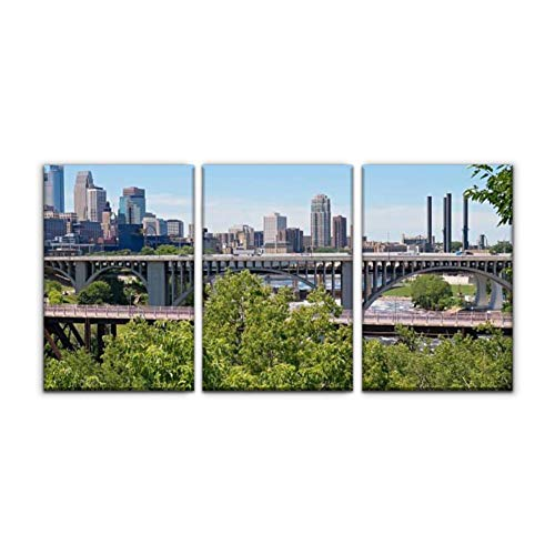Gracelapin Modern Canvas Painting Minneapolis Skyline and Bridges Mississippi River arounds and Wall Art Artwork Decor Printed Oil Painting Landscape Home Office Bedroom Framed Decor (16'x24'x3pcs)