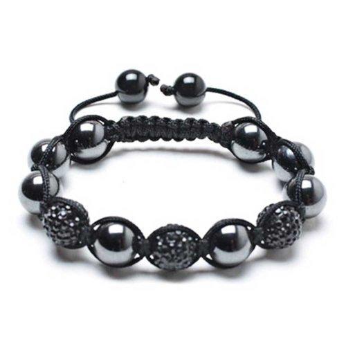 Bling Jewelry Schwarz Hämatit Pave Kristall Ball Shamballa Inspiriert Armband Für Damen Für Herren Schwarze Kabel String Einstellbar