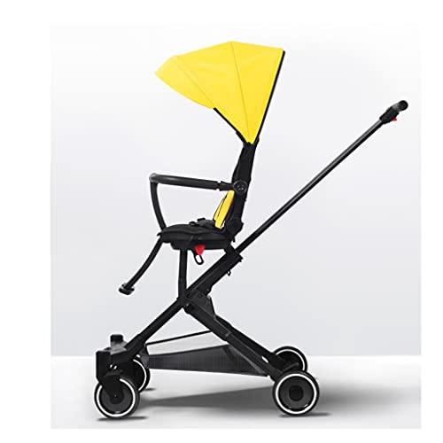jiji sillas de Paseo Cochecito liviano con Asiento reclinable Tablas Ajustables Cochecitos altales de Alto Paisaje Coche de bebé Plegable Carro de bebé Cochecito de bebé (Color : Yellow)