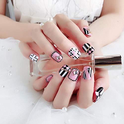 TJJL Faux ongles Dames Faux Ongles Avec De La Colle 24 Pcs Doux Rose Artificielle Ongles Noir Blanc Stripe Designs Couverture Complète Courte Faux Ongles Conseils