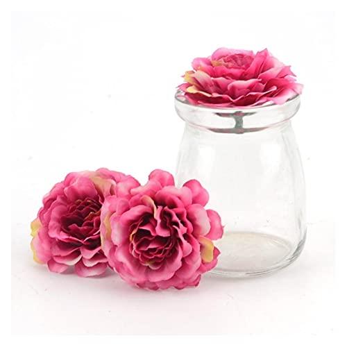 JSJJAES Flores Artificiales 5pcs 6 cm Cabeza de Flores Artificiales de Seda Rosa para la decoración del hogar de la Boda (Color : Gradient Pink)
