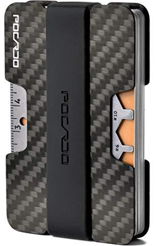 POCARDO Premium Kreditkartenetui aus Carbon inkl. Multitool-Karte | RFID Schutz | Minimalisten Geldbörse (Schwarz und Orange)