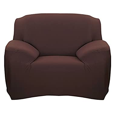Scorpiuse Stretch Arm Chair Cover 1-Piece Polyester Spandex Fabric Armchair Slipcover Chocolate
