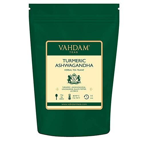 Curcuma Ashwagandha (100 tazze) | La medicina antica indiana Miscela di curcuma e spezie fresche del giardino, abbondanti in antiossidanti e fito-nutrienti | Tè alla curcuma | 200gm