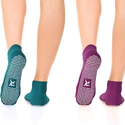 Rymora Non Slip Grip Socks for Women & Men, Elderly - Purple & Teal, Small, 2 Pairs - Non Skid Socks for Pilates, Yoga, and Barre - Wood, Tile, or Ceramic Floors