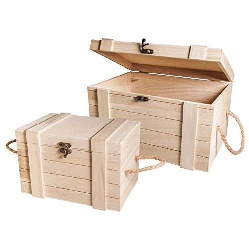 Rayher 62651000 Set contenitori in legno FSC, cassapanche, set bauli, con coperchio, vintage, fai da te, 2 pz.