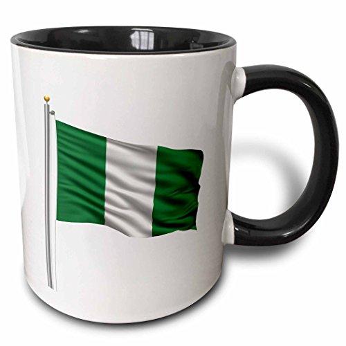 3dRose Nigeria-Flagge mit Ton in weiß-Nigerian-Two Kaffeebecher, Keramik, Schwarz, 10.16cm x 7,62x-Uhr