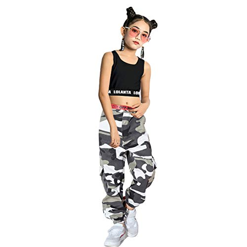 Mädchen Hip Hop Street Dance Kleidung Set Jazz Dancewear Tank Top + Camouflage Pants, Grau, 160