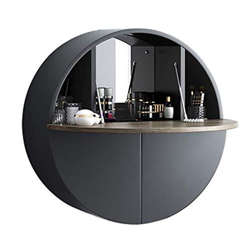 Giow Mesa montada en la Pared, multifuncion, comoda para el hogar, con area de Almacenamiento, Espejo de Maquillaje, para Dormitorio, Sala de Estar u Otros Lugares Que desee