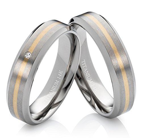 frencheis Eheringe Verlobungsringe Trauringe aus Titan und 585 Gold mit echtem Diamant Gratis Lasergravur TG172