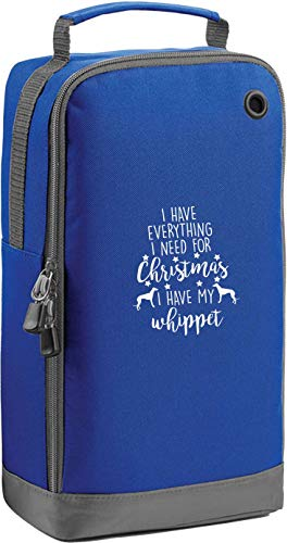 Flox Creative Blue Sports Schuhtasche Everything I Need For Christmas Whippet Horizontal Print