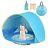 Pop Up Baby Beach Tent - Portable Baby Sun Shade Tent Garden for 2-3 Person, UV Protection Tent for Babies with Shade Pool, Beach Tent Shelter Kids for Family Camping, Fishing, Picnic, Baby Playing