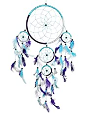 Pink Pineapple Dream Catcher Big Handmade Bohemian Dream Catcher : Ethical Hanging Dream Catcher Wall Art with Aqua Blue, Purple and White Feathers and Beads with Traditional Crochet Design