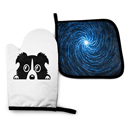 Border Collie Clipart Heat Resistant Hot Oven Mitts & Pot Holders for Kitchen Set, Oven Gloves for BBQ Cooking Baking, Grilling, Machine Washable