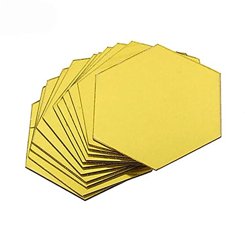 Tree-es-Life 46 * 40 * 23mm 12Pcs Marco hexagonal 3D Espejo estereoscópico Etiqueta de la pared Fondo de la sala Decoración de la pared Oro dorado 46x40x23mm