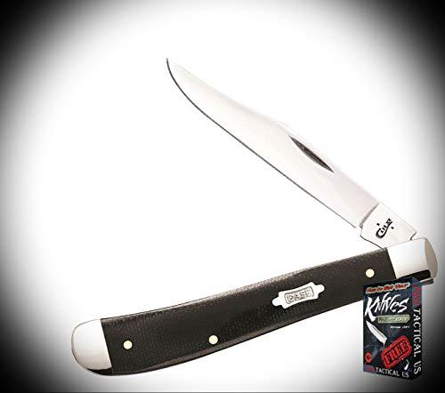 New Case Slimline Trapper BLK Handle Stainless Folding Blade ProTactical Elite Knife 3412RT + Free eBook