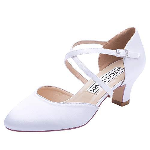 ElegantPark HC1921 Zapatos Novia Tacon Bajo Correa Cruzada Zapatos de Corte Punta...