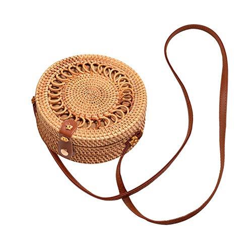 arthomer Bolso Redondo de ratán para Mujeres Bolso de Paja Tejido a Mano Bolso de Crossbody de Playa con Correas de Hombro Bolso Boho