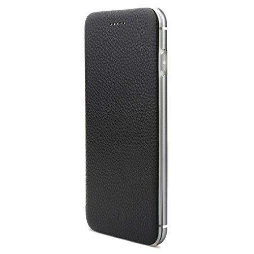 VAPIAO Echtleder Schutzhülle Lederschutzhülle Aluminium Hard Back Flip Cover TPU Case für iPhone 7 Plus in Schwarz